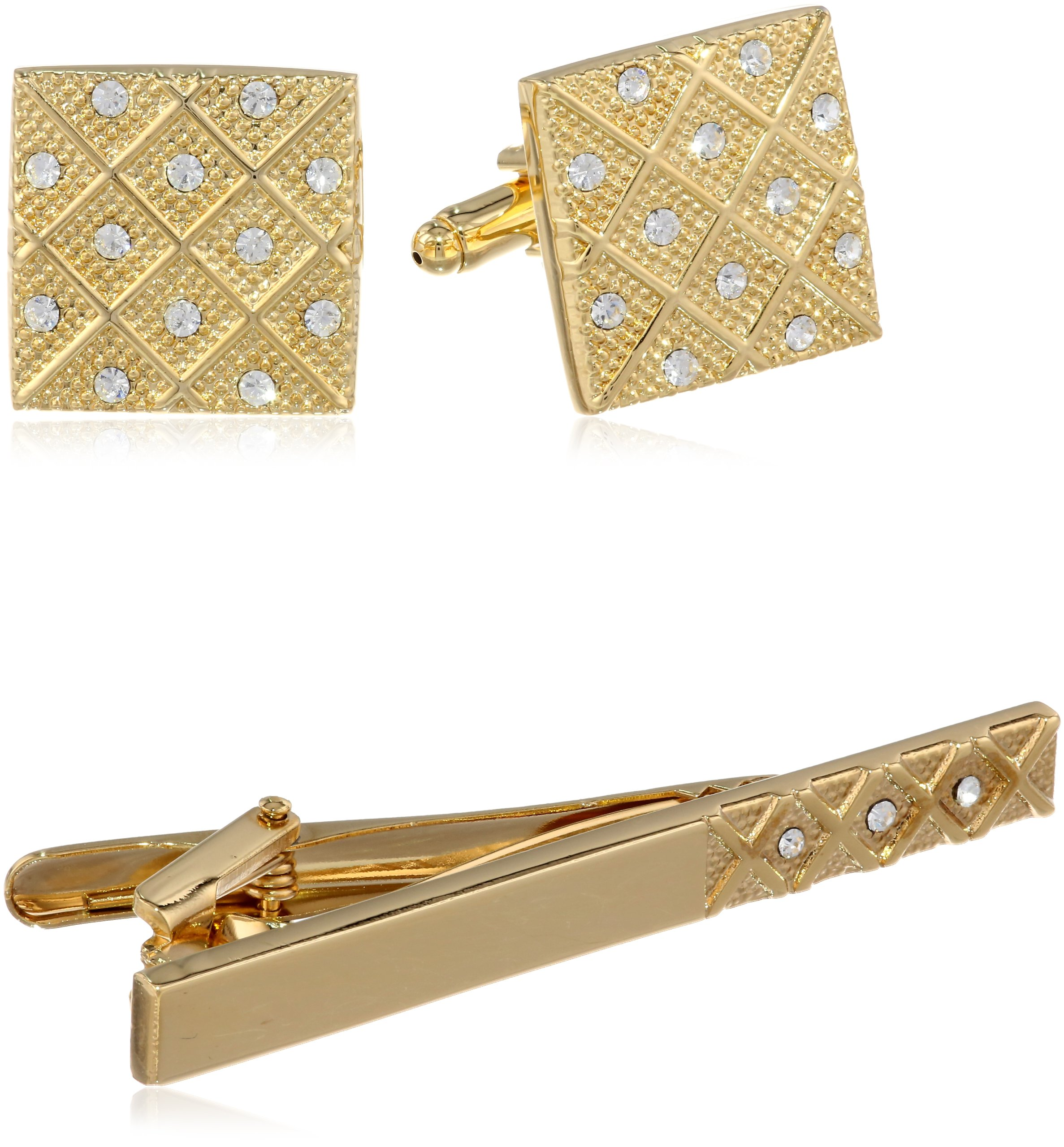Stacy Adams Men's Cuff Link and Tie Bar With Crystals Set, Gold, One Size