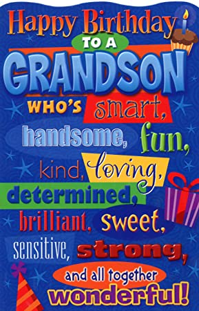 Happy birthday grandson birthday card amazon office products quothappy birthday grandson birthday card bookmarktalkfo Gallery