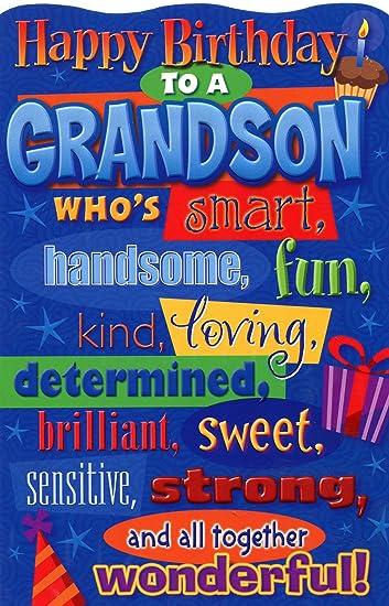 Amazon.: Happy Birthday Grandson, Birthday Greetings Card