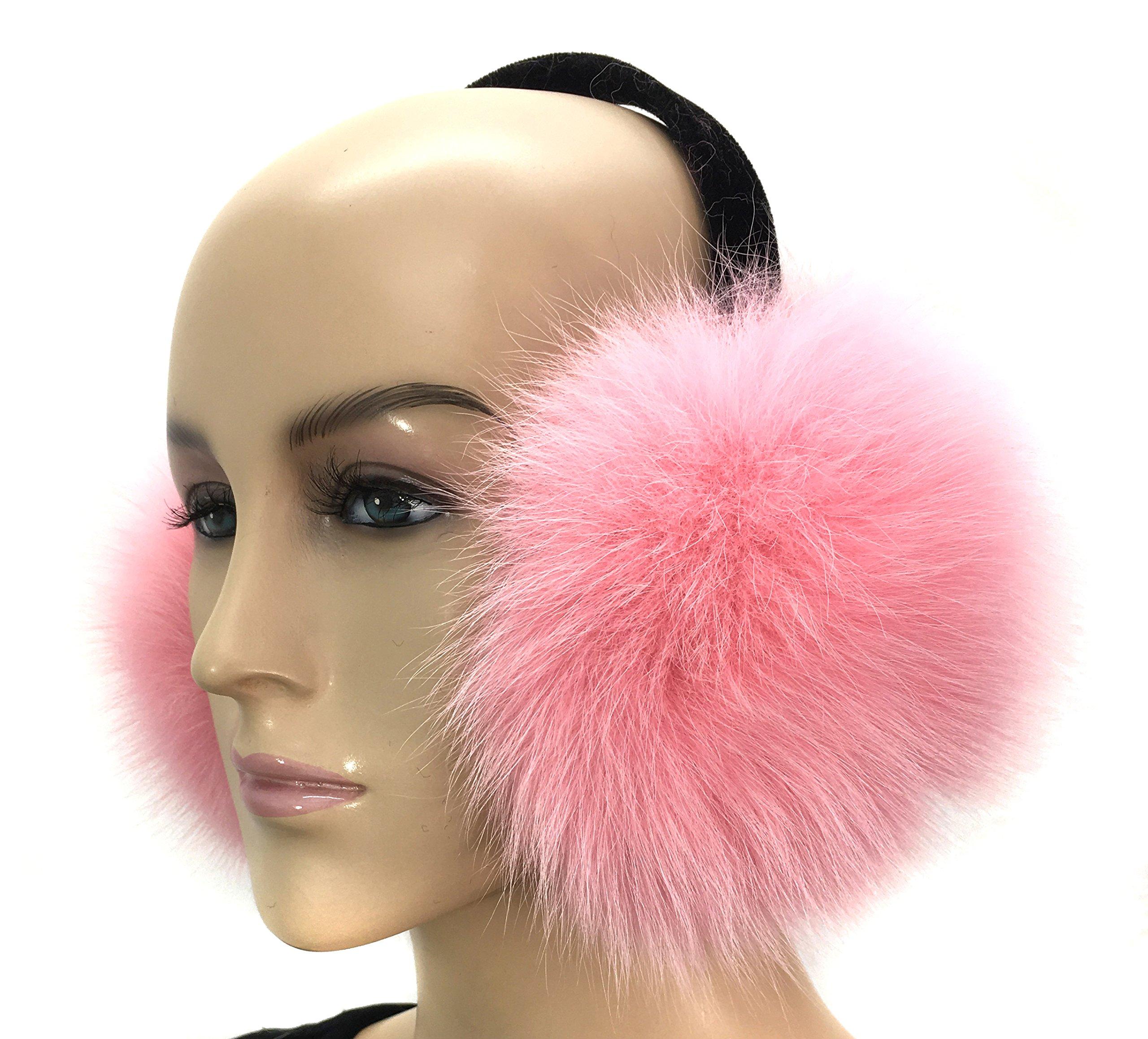 HIMA 100% Real Fox Fur Earmuff (Baby Pink)