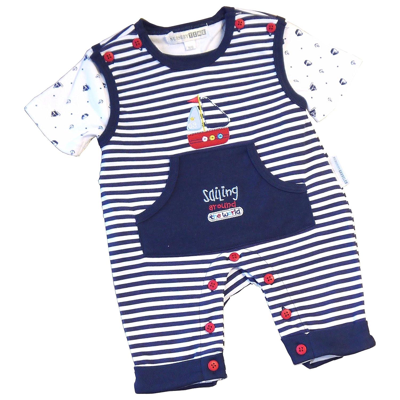 BabyPrem Babykleidung Overalls Spielanzug & T Shirt Set Näutisch Jungen Neugeborene - 6 Monate SLD048