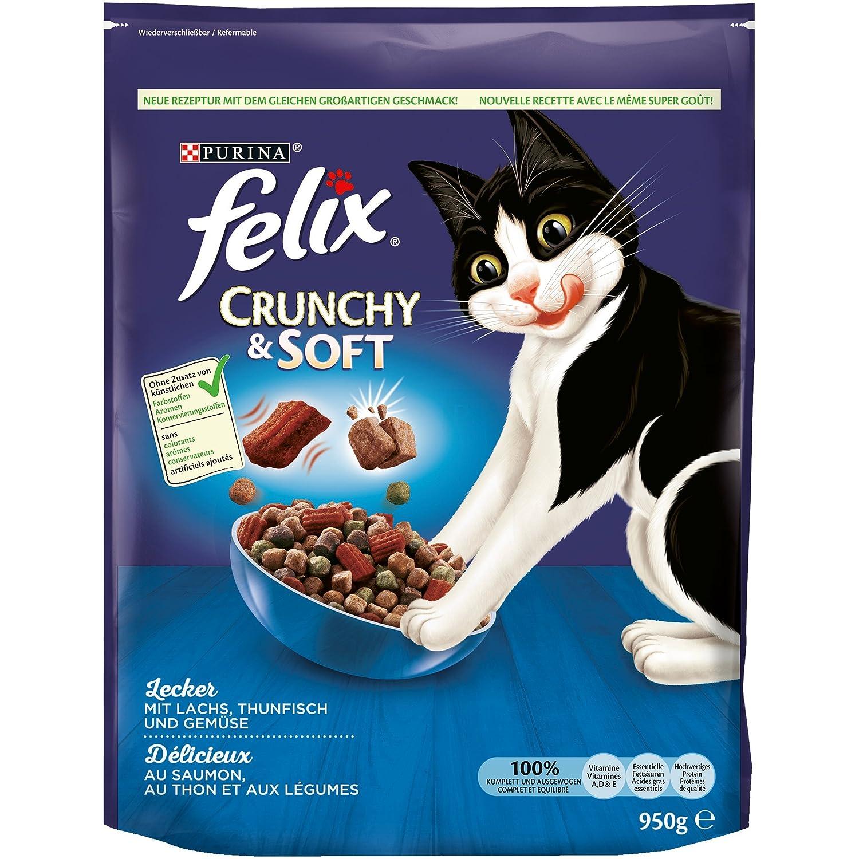 Felix Lot de 4 boîtes de Nourriture pour Chat sèche, croquante et Molle (4 x 950 g) 12309923