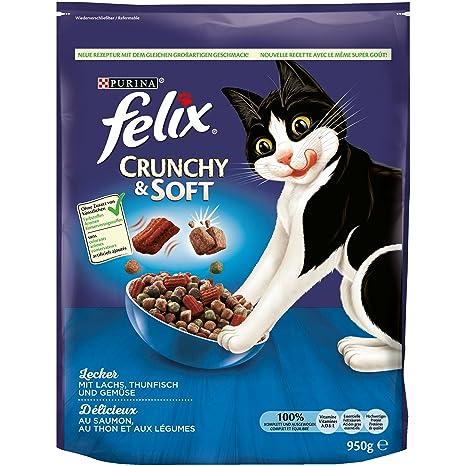 Felix Crunchy & Soft Pienso seco para Gatos (4 Paquetes de 950 ...