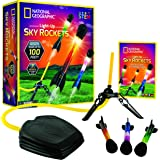 NATIONAL GEOGRAPHIC Air Rocket Toy – Ultimate LED Rocket Launcher for Kids, Stomp and Launch The Light Up, Air Powered, Foam Tipped Rockets up to 100 Feet, Great Toy for Kids Outdoor Activities