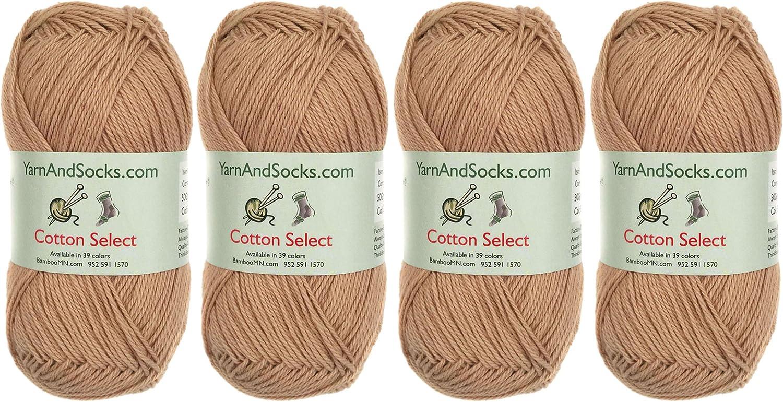 Cotton Select Sport Weight Yarn - 100% Fine Cotton - 4 Skeins - Col 301 - Beechnut Brown