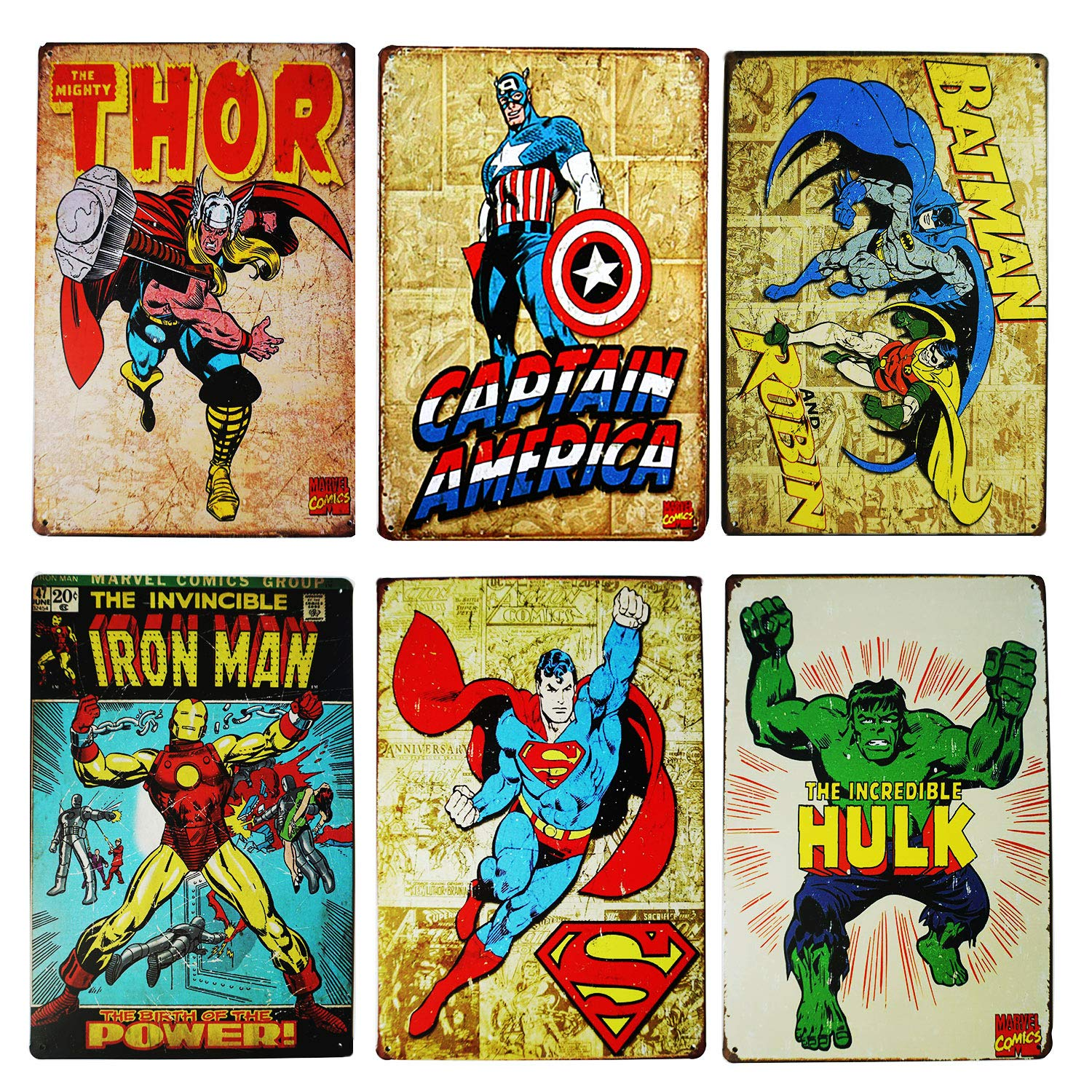 Monifith Vintage Superhero Tin Sign Bundle Hulk,Thor,Superman,American Captain,Iron Man,Batman Marvel Comics Distressed Christmas Retro Vintage Metal Tin Sign Wall Decor 6pcs-8x12inch by TISOSO