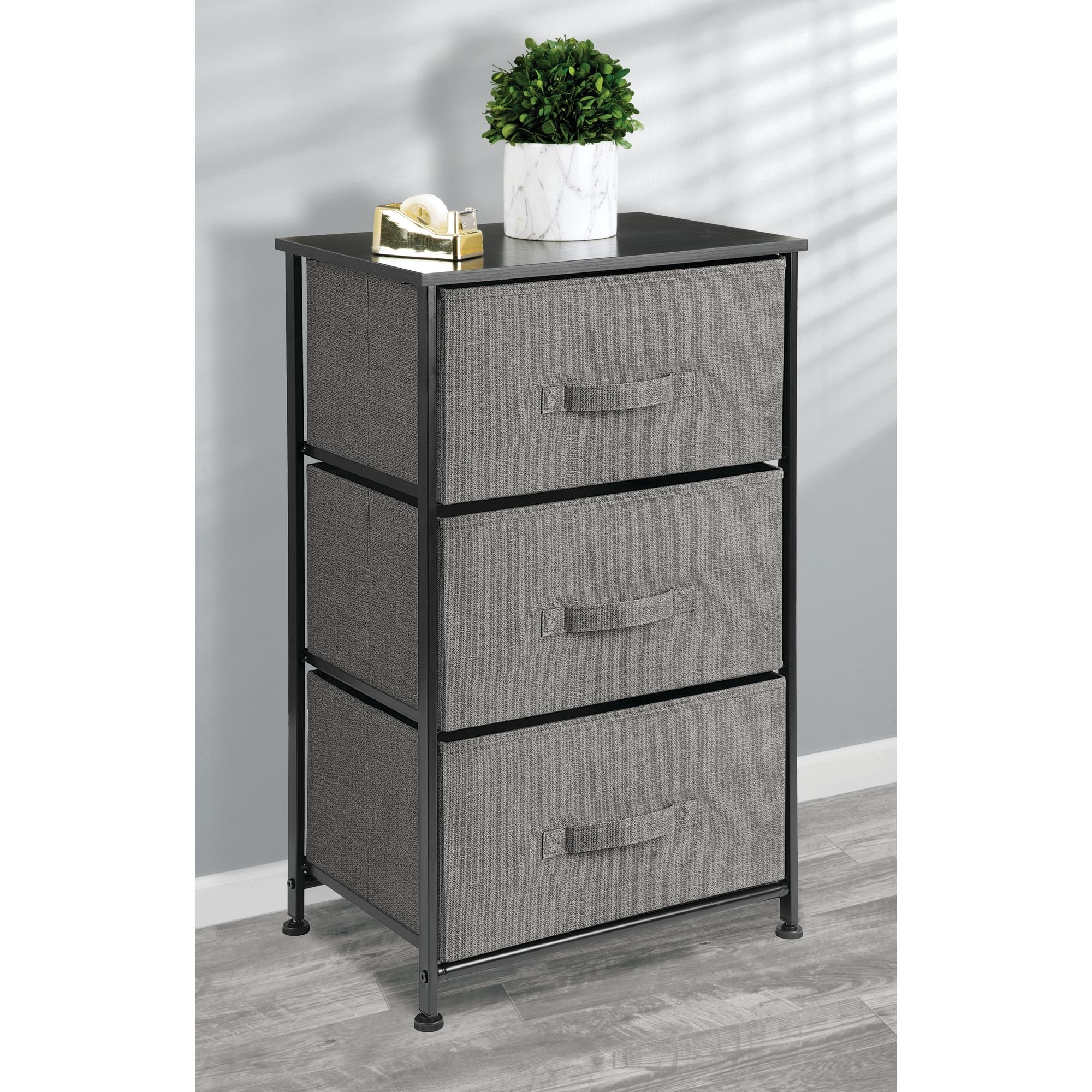 mDesign Vertical Dresser Storage Tower - Sturdy Steel Frame, Wood Top, Easy Pull Fabric Bins - Organizer Unit for Bedroom, Hallway, Entryway, Closets - Textured Print - 3 Drawers, Charcoal Gray/Black by mDesign