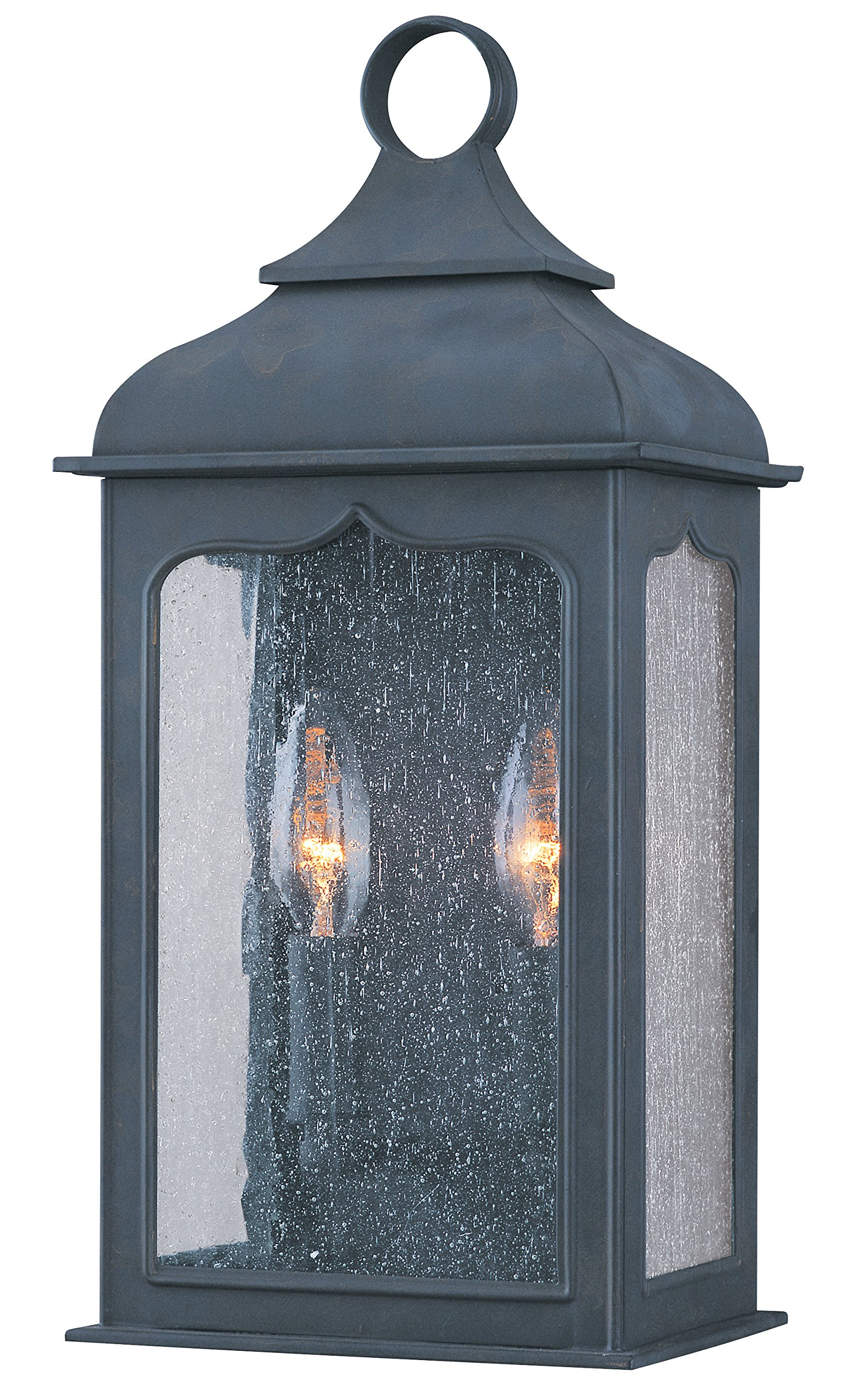 Troy Lighting Henry Street 15''H 2-Light Outdoor Wall Lantern - Colonial Iron Finish with Clear Seeded Glass