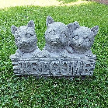 piedra Figura gato Welcome Mieze Decoración Jardín Animales Figura Jardín figuras de piedra: Amazon.es: Jardín