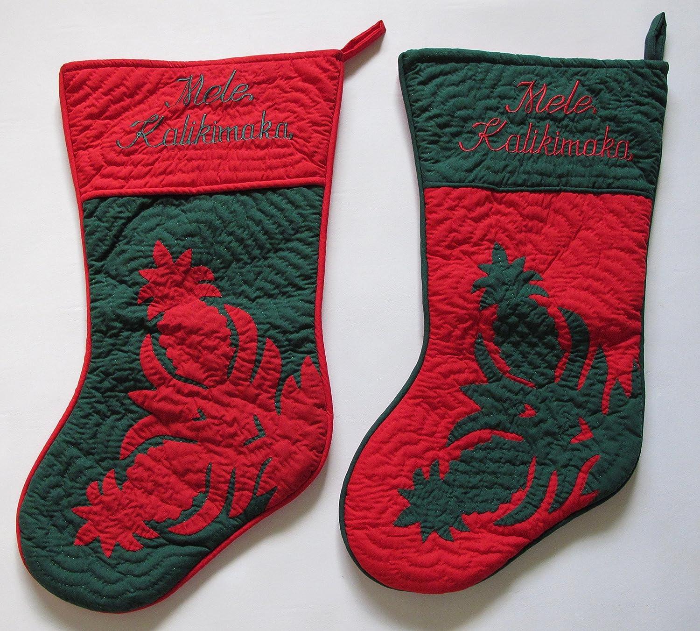 セットの2大ハワイアンキルトクリスマスストッキングAppliquéd手キルト風/ B077VG28XR