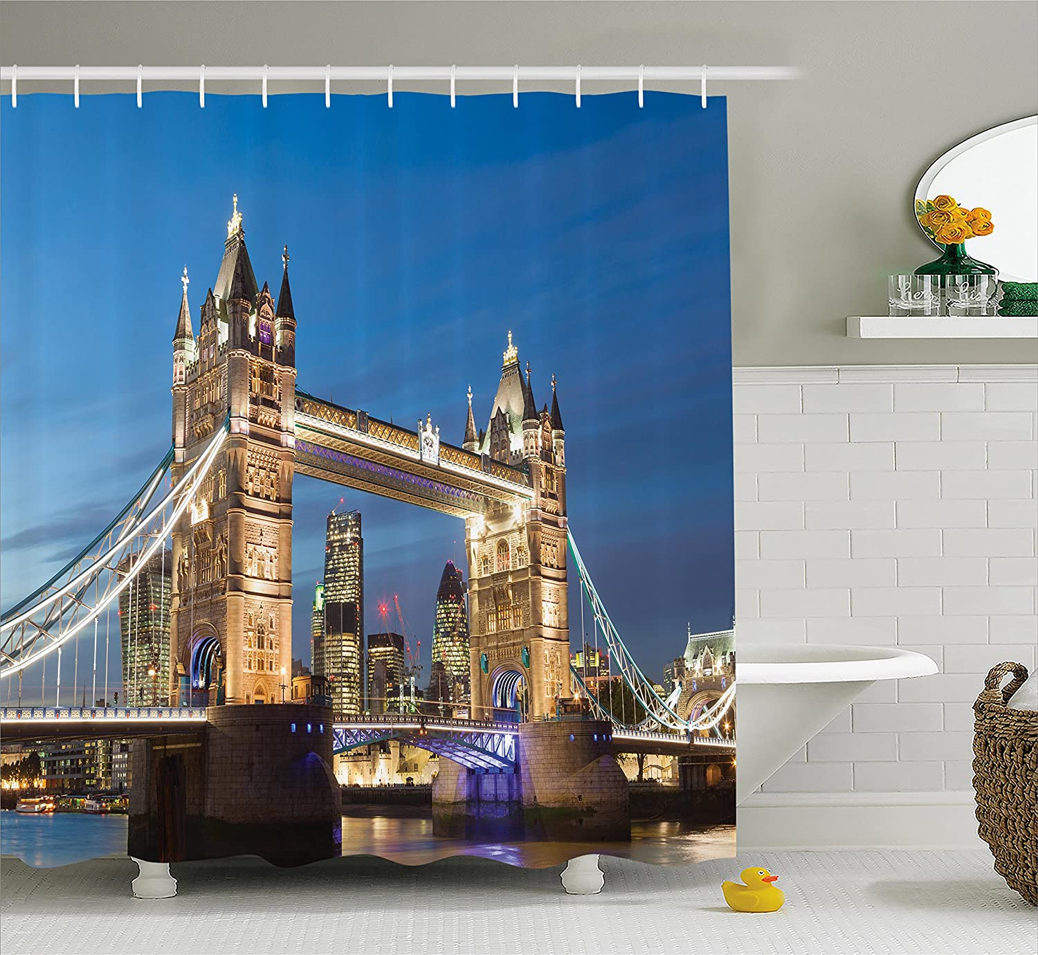 Ambesonne London Decor Collection, Scenery of Shining Landmark Tower Bridge at Twilight with Skyscrapers behind England Photography, Polyester Fabric Bathroom Shower Curtain, Blue Ivory sc_9418_london_1504