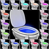 16-Color Motion Activated Toilet Light Night [FREE BATTERIES INCLUDED] Toilit Light LED Light Changing Tolet Bowl Nightlight for Bathroom Perfect Decorating Combination along with Water Toilite Light