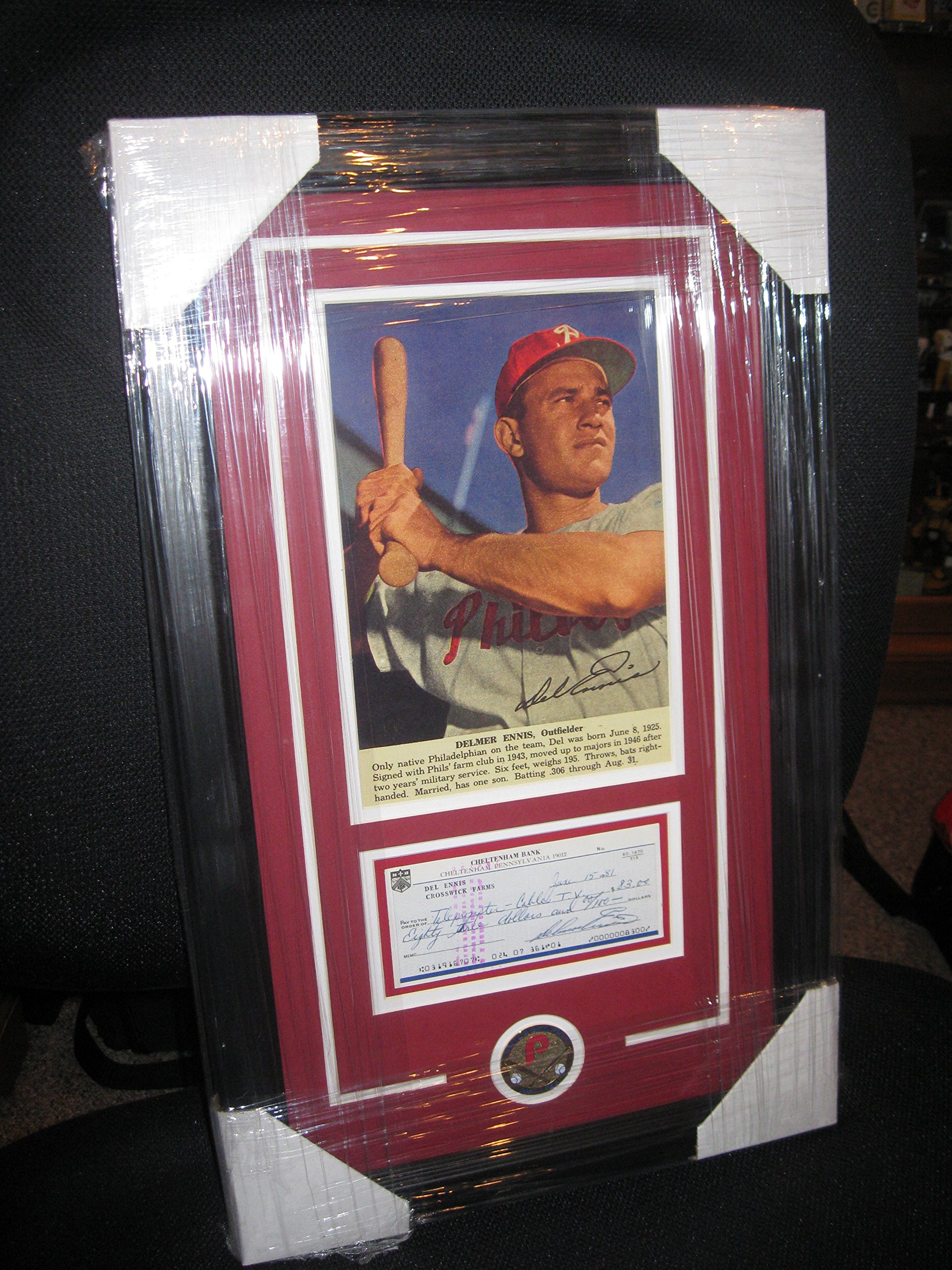 DEL ENNIS PERSONAL CHECK FRAMED PHILLIES