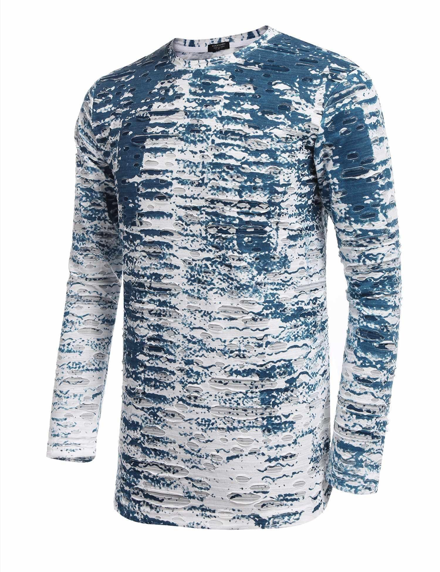 JINIDU Mens Hipster Hip Hop Ripped Long Sleeve Basic Tops T Shirt with Holes