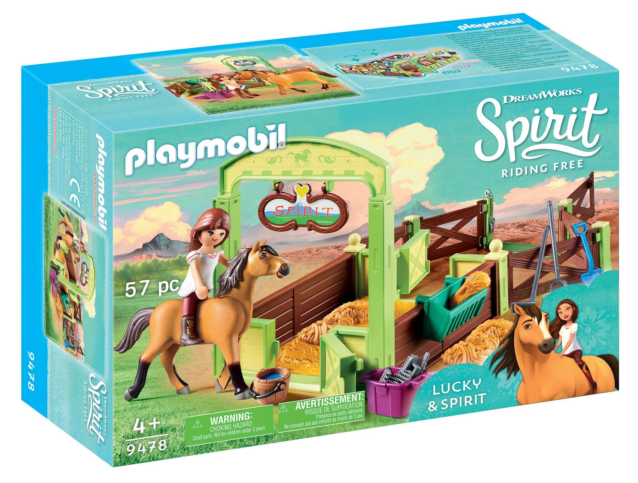 PLAYMOBIL 9475 Spielzeug-Luckys glückliches Zuhause &  9478 Spielzeug-Pferdebox Lucky & Spirit