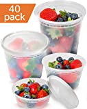 Clear Plastic Containers With Lids Set - Freezer Containers Meal Prep Containers for Food - Deli Containers With Lids Food Storage Containers - Plastic Food Containers [40 Pack, Mixed Set]