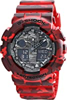Casio G-Shock Grey Graphic Dial Red Camo Resin Quartz Men's Watch GA100CM-4A