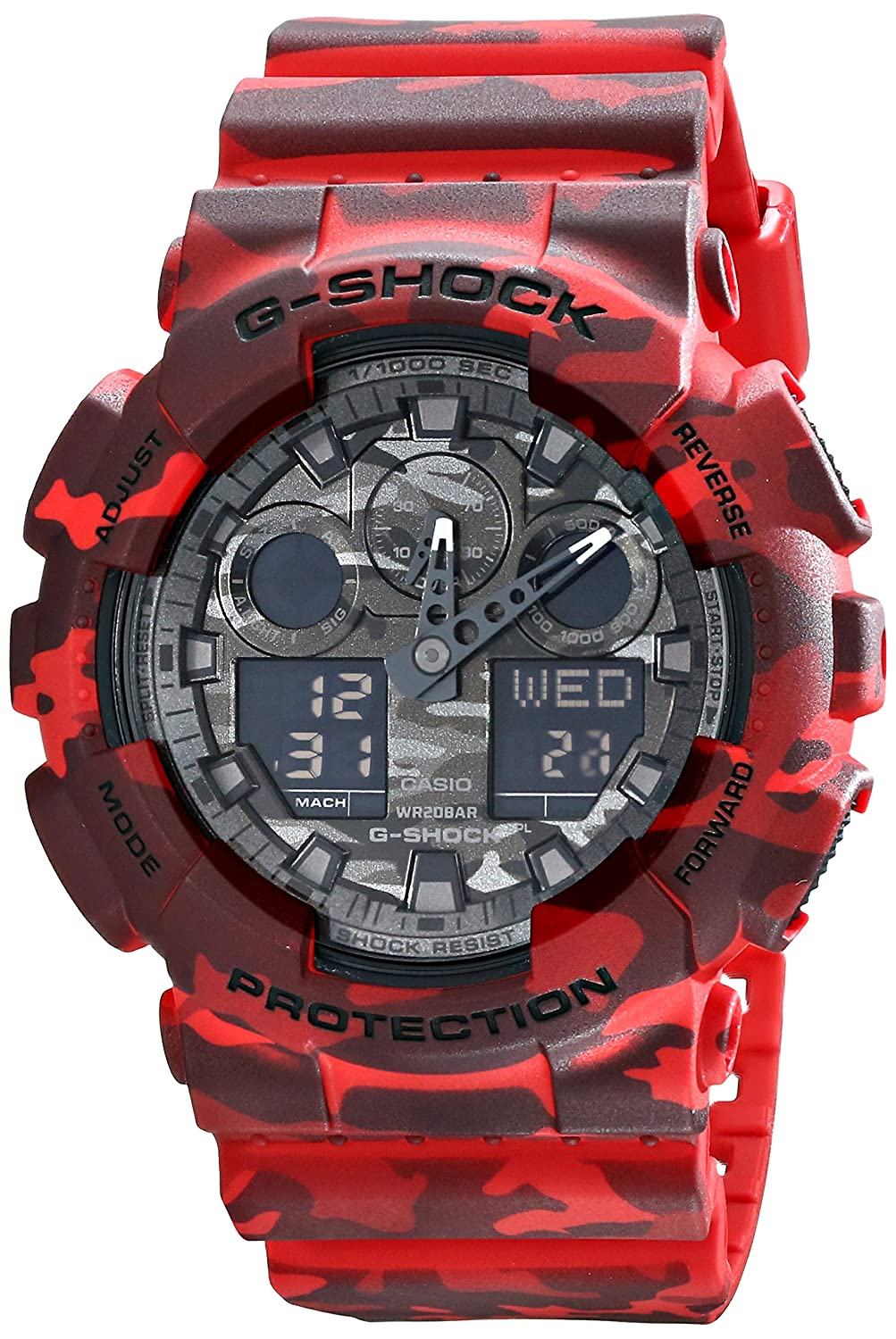 Casio G-Shock Grey Graphic Dial Red Camo Resin Quartz Mens Watch GA100CM-4A