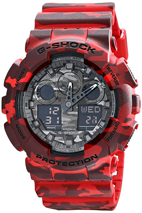 f3ee4b9e382 Amazon.com  Casio G-Shock Grey Graphic Dial Red Camo Resin Quartz ...