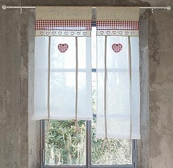 Vorhang Gardine Scheibengardine Landhausstil - Kariert / Herz - 60x90 -  Weiß / Beige / Rot - 70% Polyester / 20% Leinen / 10% Baumwolle