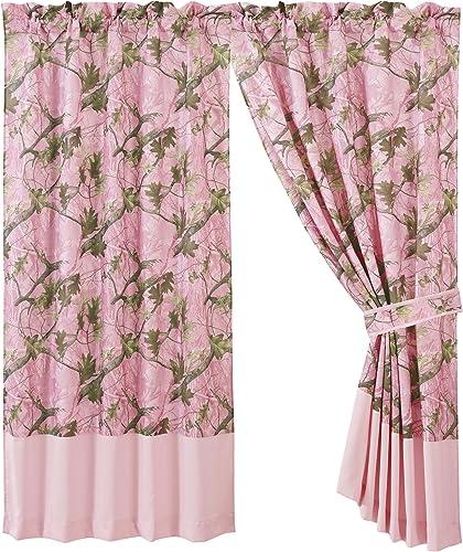 HiEnd Accents Oak Camo Curtain, Pink