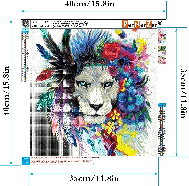 ParNarZar Broderie Diamant Kit Complet 5D Lion Portant Une Couronne 40 x 40 cm Diamond Painting Animaux Diamant Peinture Plein Rond Kit Point de Croix Diamant Strass Peinture sur Toile