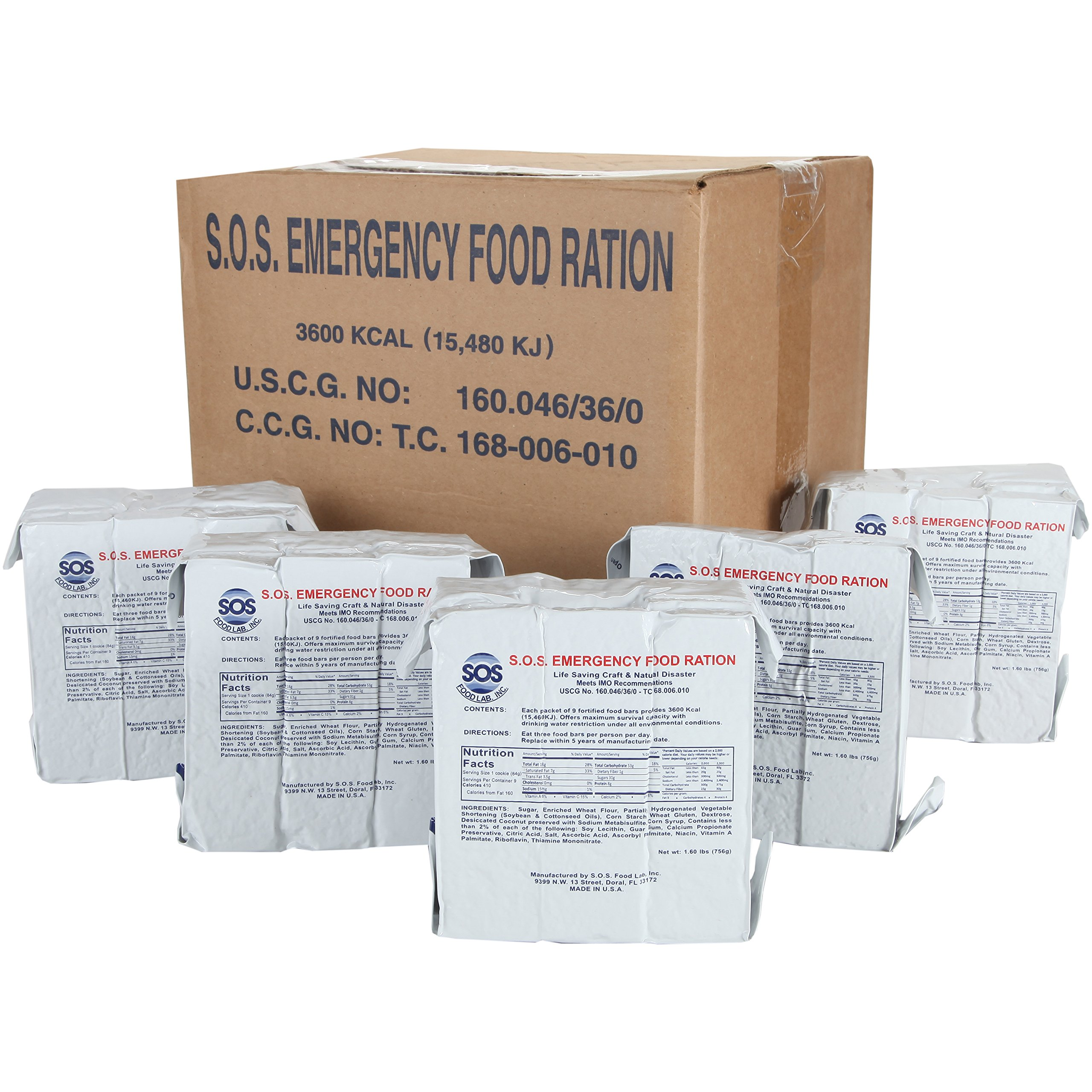 SOS Food Labs Rations Emergency 3600 Calorie Food Bar - 3 Day / 72 Hour Package with 5 Year Shelf Life- FULL CASE by SOS Food Labs, Inc.