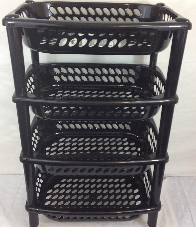 4TIER Kitchen Trolley Vegetable Fruit Rack Bathroom Storage Trolley Rack Black J0192#Black2