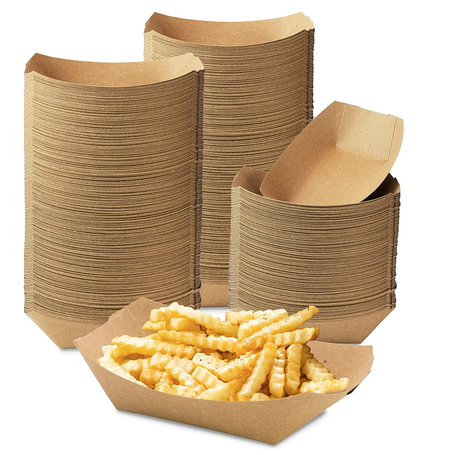 [1000 Pack] 1 lb Heavy Duty Disposable Kraft Brown Paper Food Trays Grease Resistant Fast Food Paperboard Boat Basket for Parties Picnics Carnival, Holds Tacos Nachos Fries Hot Corn Dog, 1000 Total