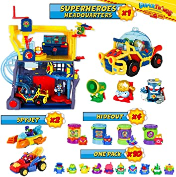 SuperThings Secret Spies Serie – Sede Superhéroes y Pack Sorpresa 16 Sets | Contiene Sede SuperThings, 10