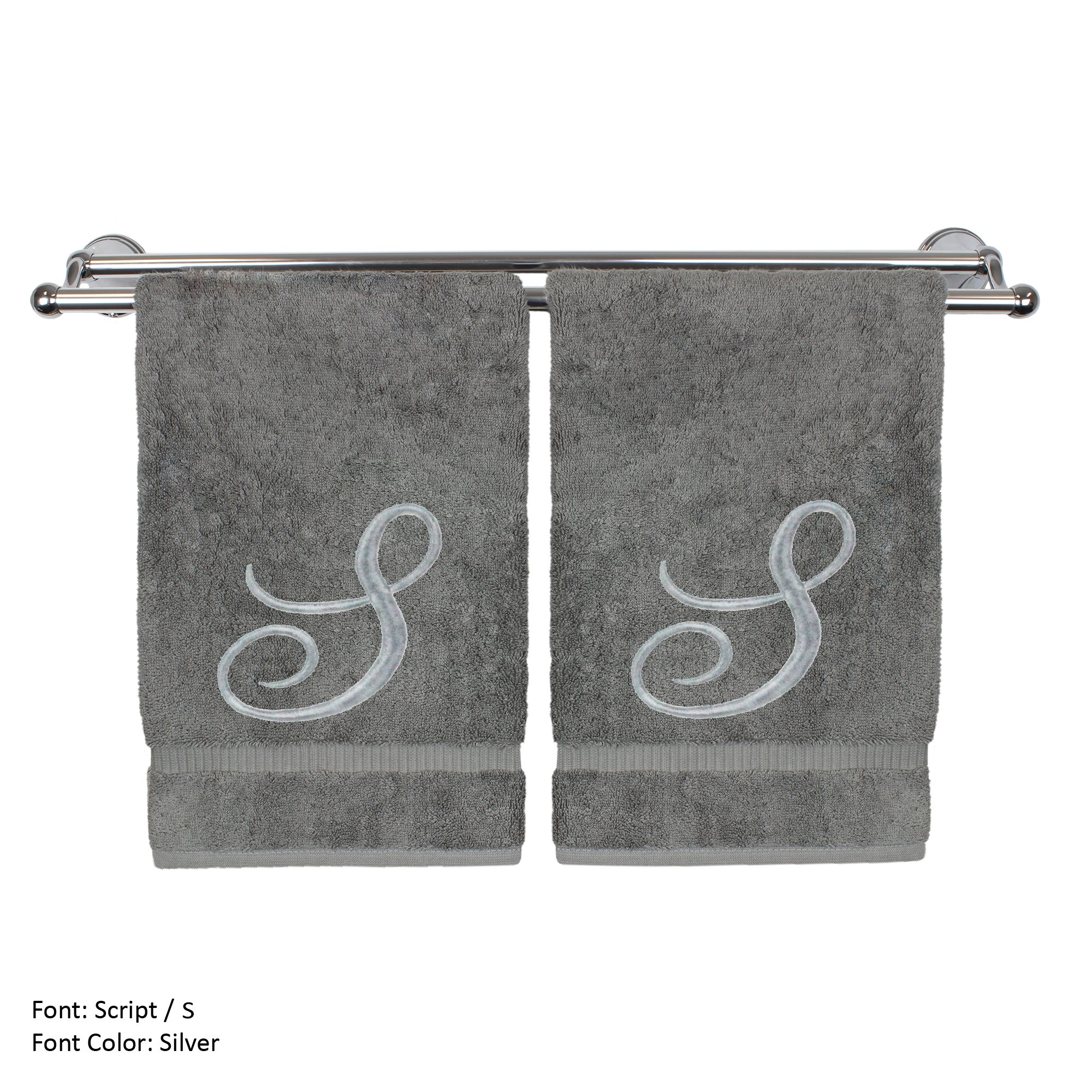 Monogrammed Hand Towel, Personalized Gift, 16 x 30 Inches - Set of 2 - Silver Embroidered Towel - Extra Absorbent 100% Turkish Cotton- Soft Terry Finish - For Bathroom, Kitchen and Spa- Script S Gray