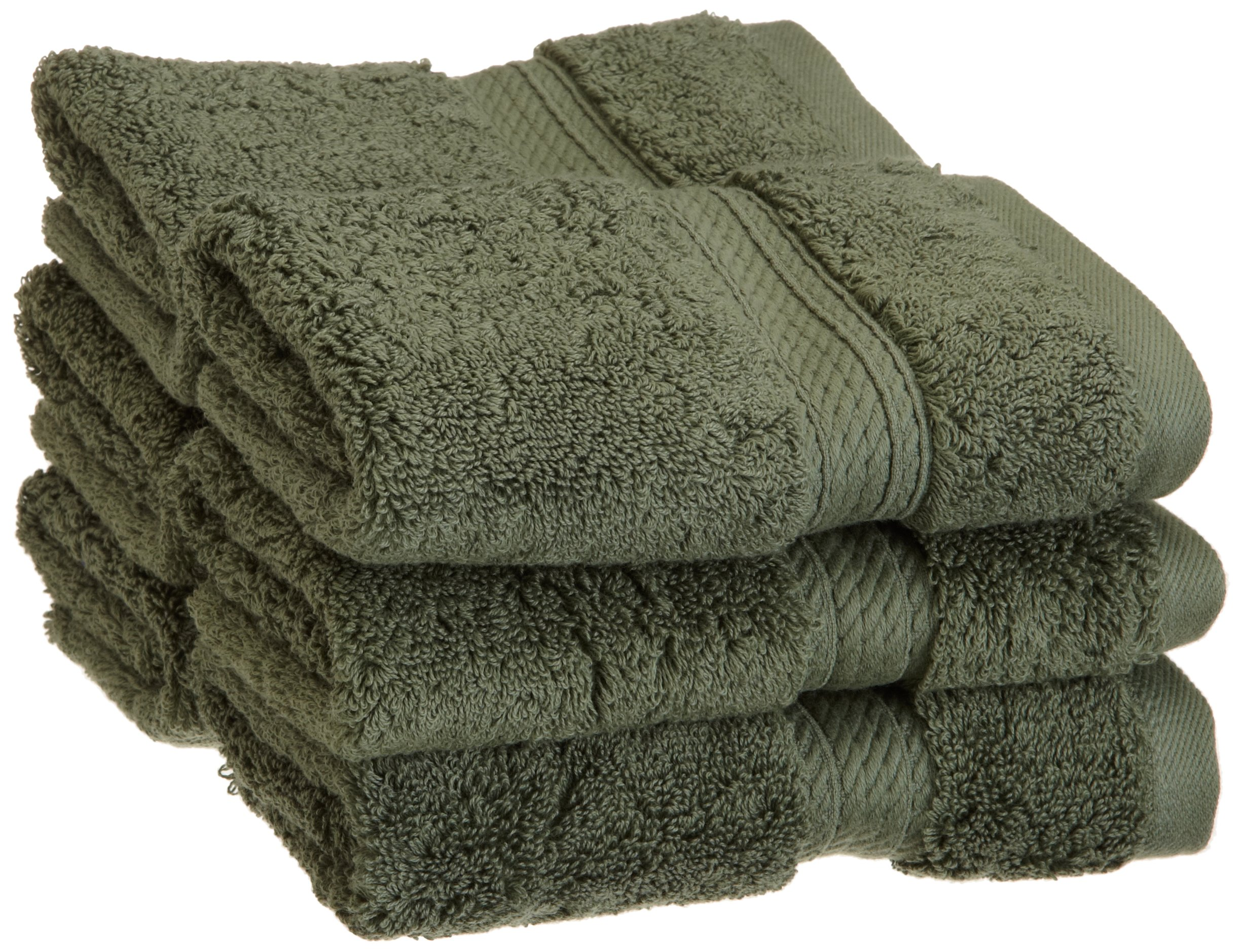 Superior 900 GSM Luxury Bathroom Face Towels, Made of 100% Premium Long-Staple Combed Cotton, Set of 6 Hotel & Spa Quality Washcloths - Forest Green, 13'' x 13'' each