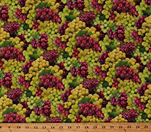 Cotton Grapes Grape Bunches Allover Fruit Grapevines Vineyard Kitchen Food Festival Cotton Fabric Print by The Yard (D673.60)