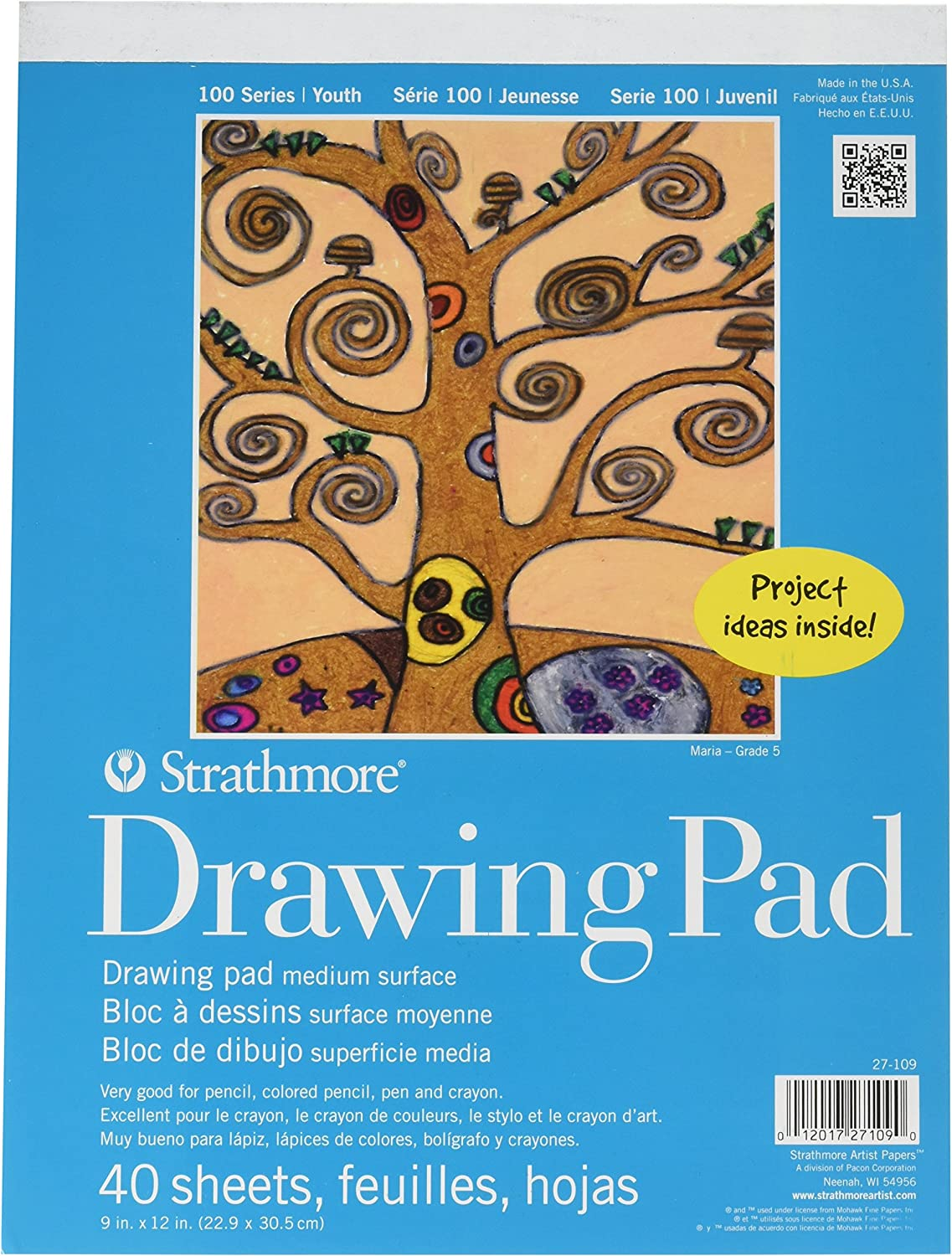 """Strathmore 100 Series Youth Drawing Pad, 9 by 12"""", 40 Sheets: Arts, Crafts & Sewing"""