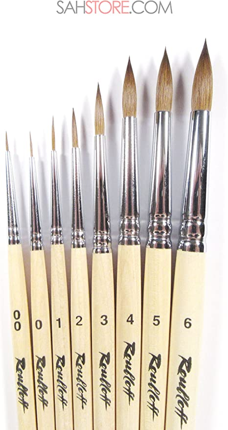 KOLINSKY SABLE PROFESSIONAL 9 SET  Brushes Watercolor Oil Russian Roubloff