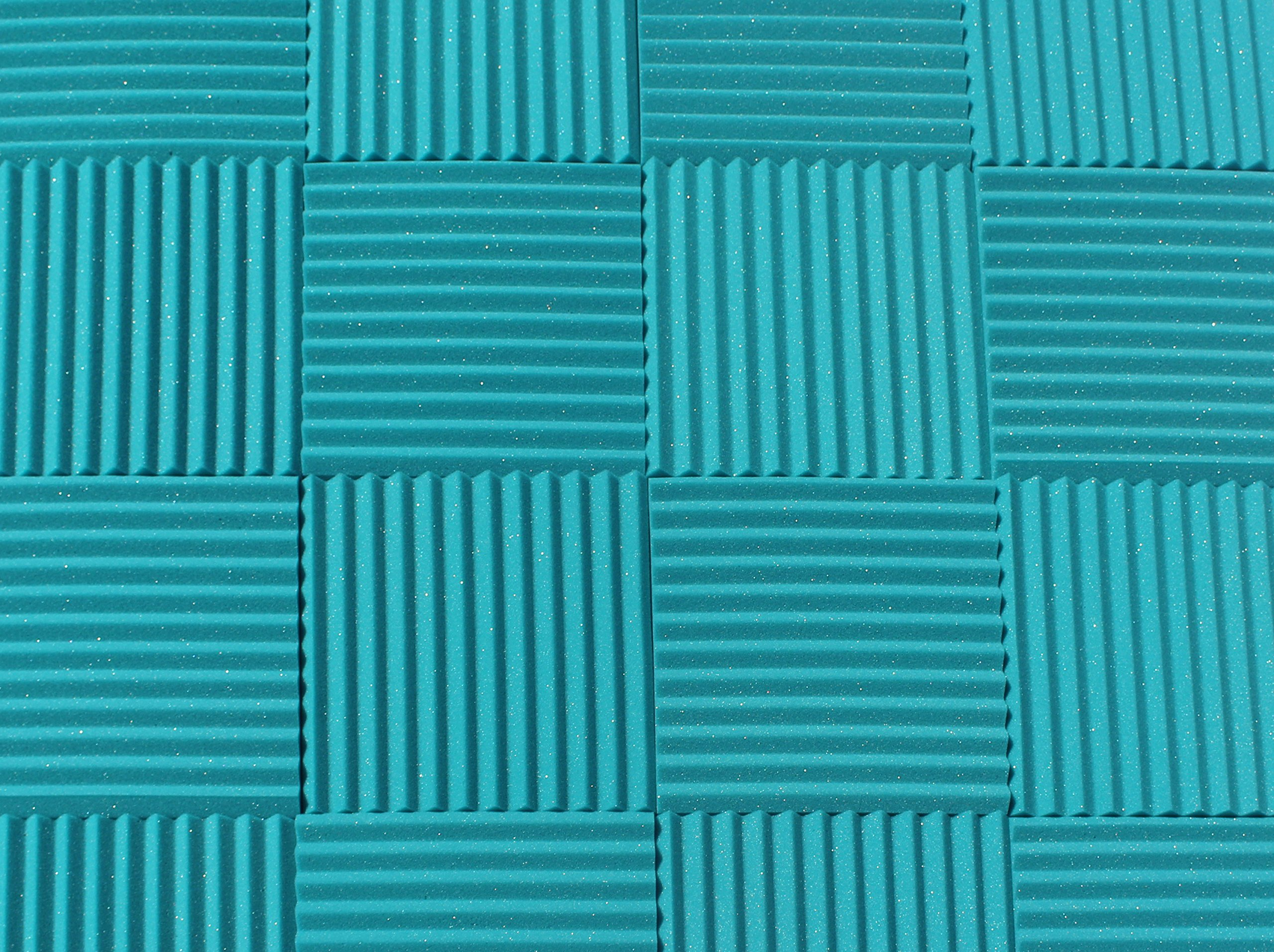 """Soundproofing Acoustic Studio Foam - Teal Color - Wedge Style Panels 12""""x12""""x1"""" Tiles - 6 Pack by SoundAssured"""