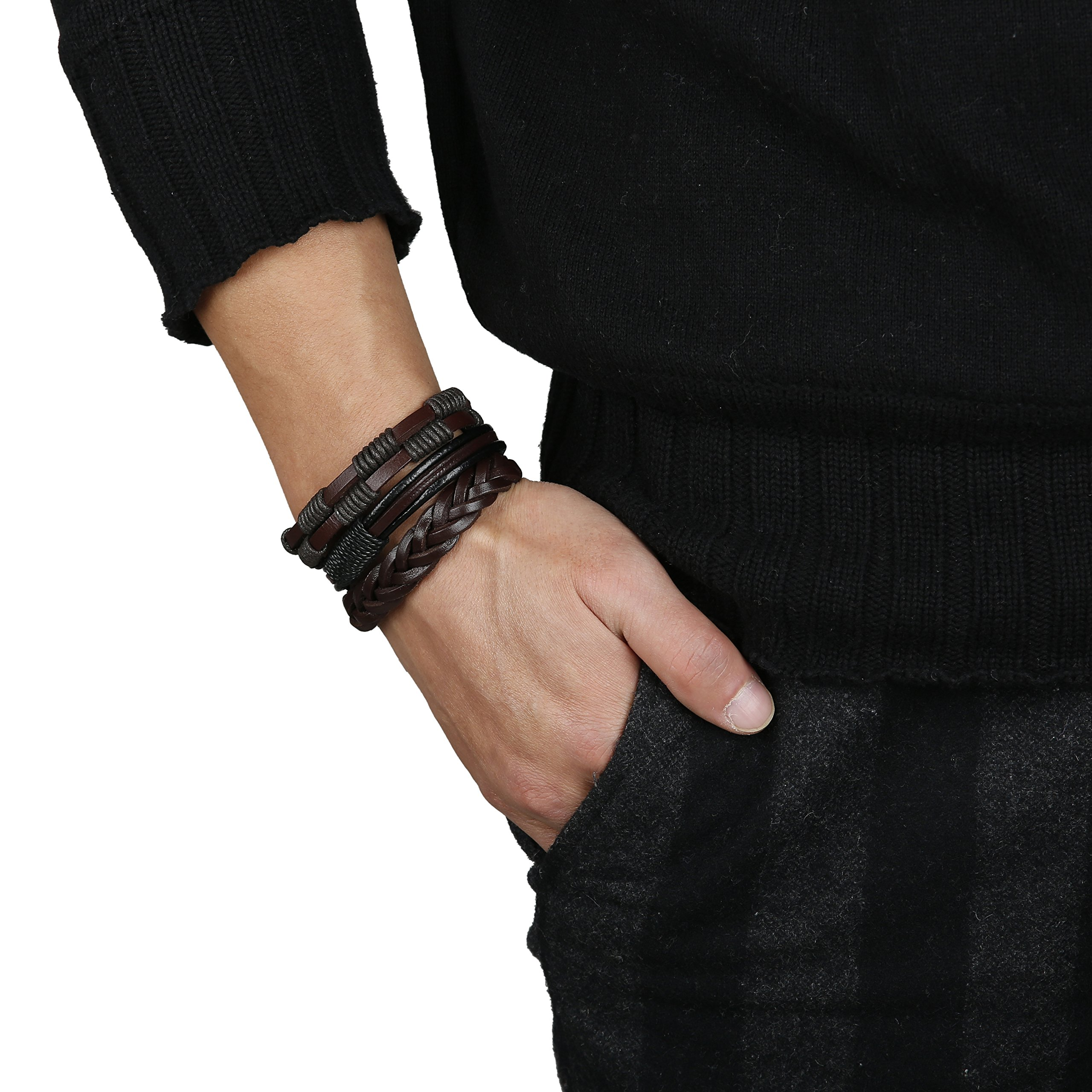 Jstyle 12Pcs Braided Leather Bracelet for Men Women Cuff Wrap Bracelet Adjustable Black and Brown (A:12Pcs) by Jstyle (Image #7)