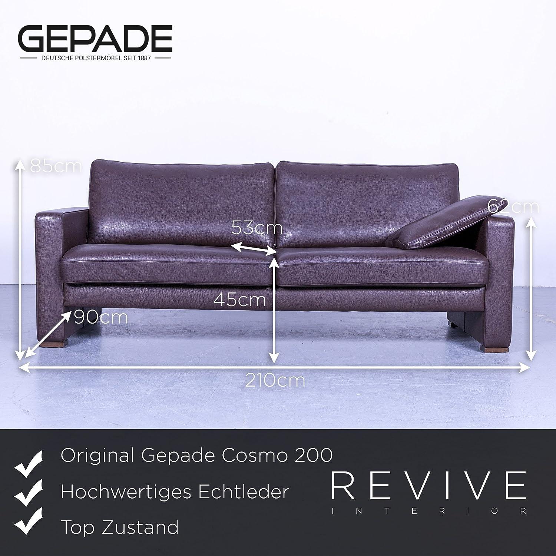 Amazon.de: Gepade Cosmo 200 Designer Leder Sofa Braun Dreisitzer ...
