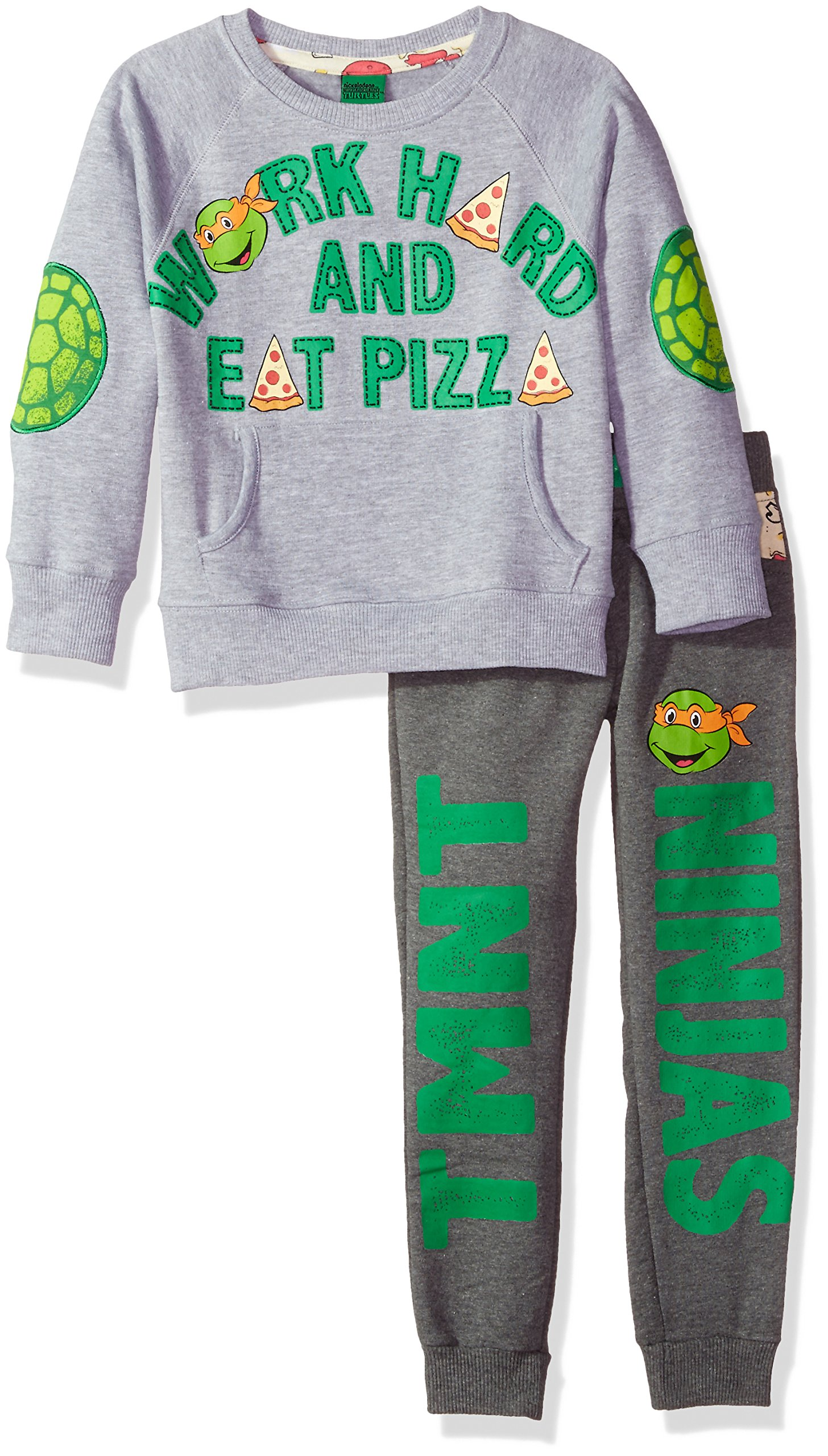 Nickelodeon Toddler Boys TMNT Work Hard and Eat Pizza Jogger Set, Grey, 3T