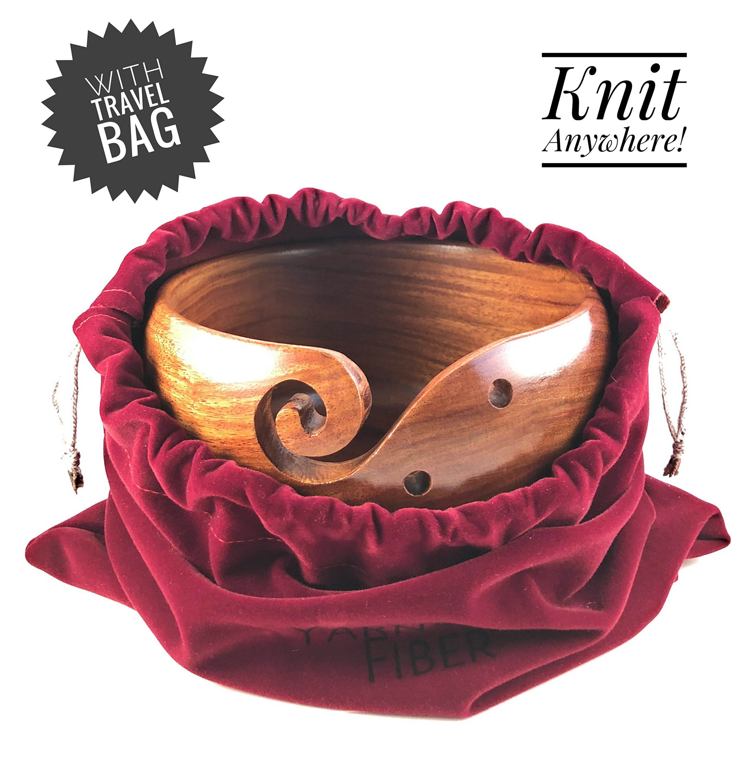 Yarn & Fiber Premium Yarn Bowl | Large 7x4 Inch with Travel Bag | Smooth Handcrafted Rosewood, Stop Yarn From Rolling, Knitting and Crochet Yarn Holder by Yarn & Fiber (Image #4)
