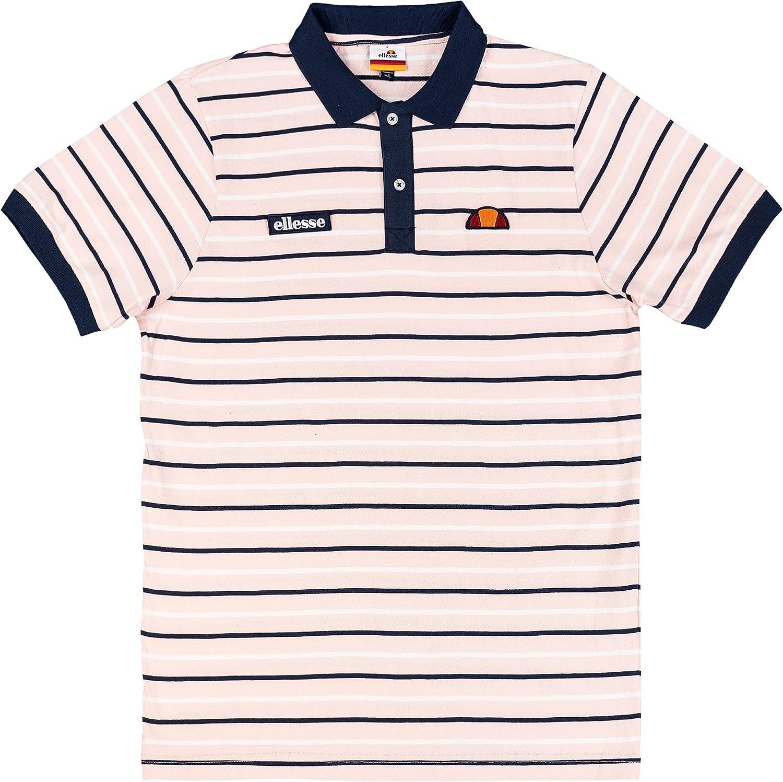 Ellesse Kadera Striped Polo Shirt in Pink /& Navy  short sleeve retro tennis SALE