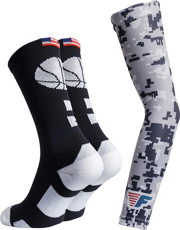 Youth Boys Basketball Socks Sports Athletic Crew Socks with Basketball Arm Sleeve - Made in USA