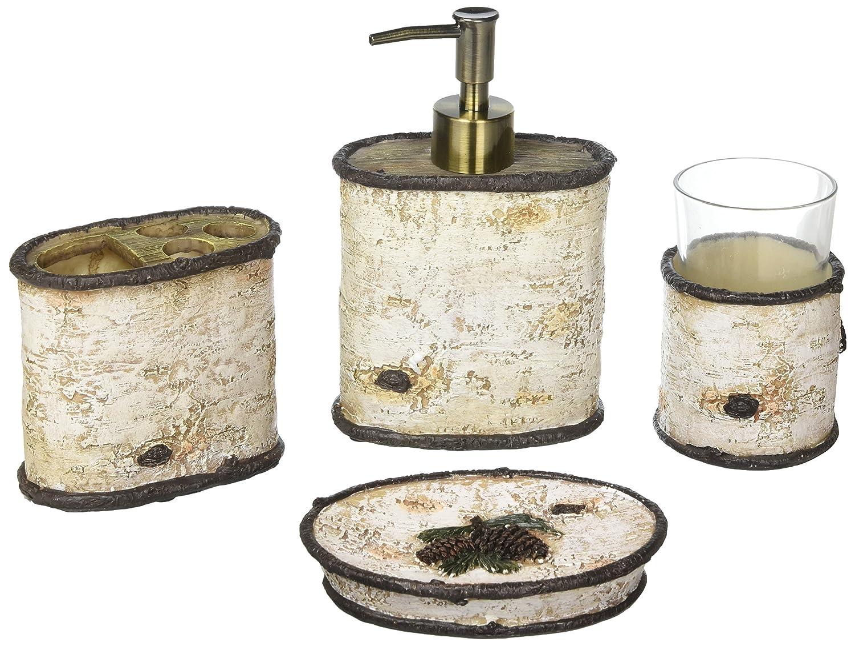 Amazon.com: Pine Cone 4 Piece Birch Bath Set [Set of 2]: Home & Kitchen
