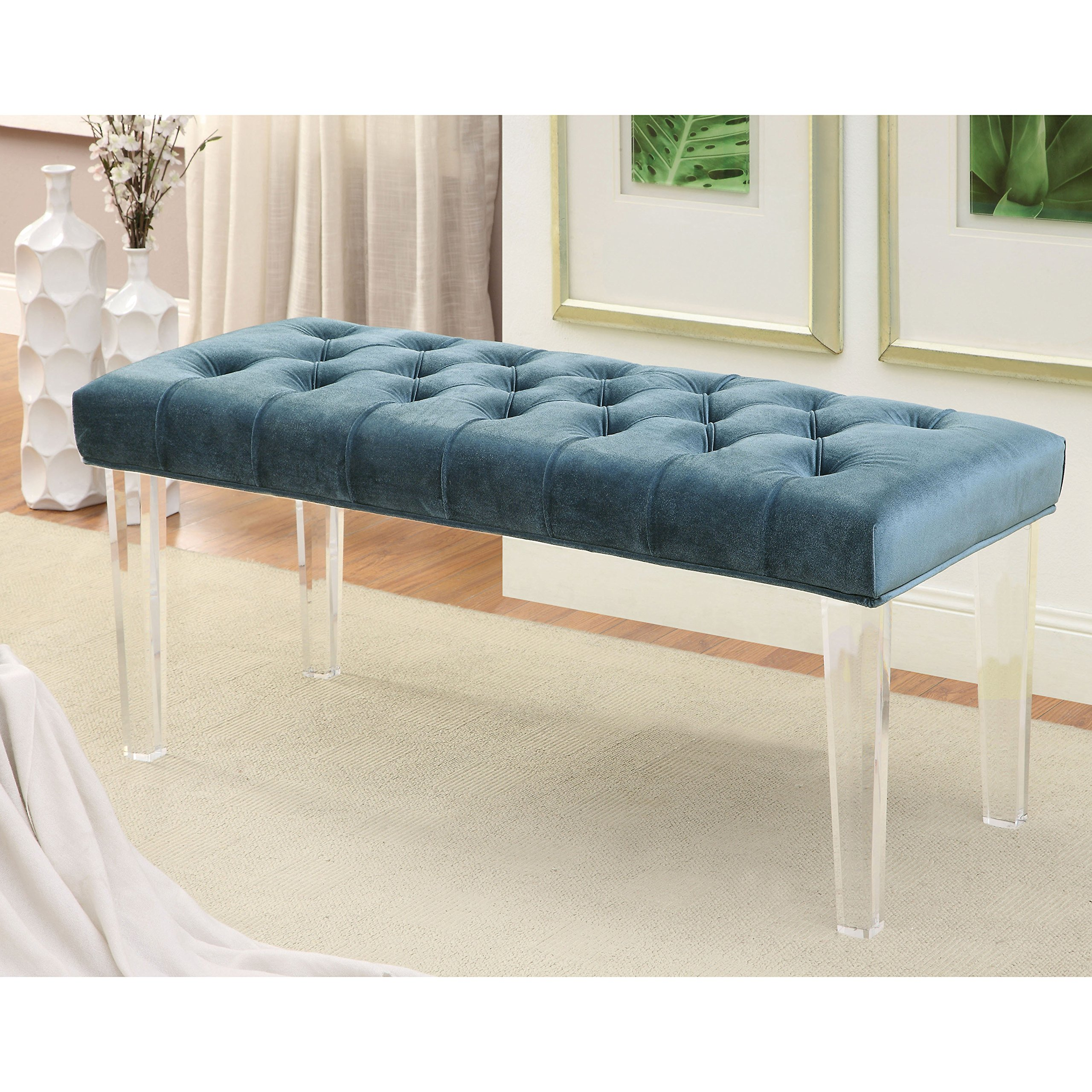 Furniture of America Brissy Contemporary Tufted Flannelette Clear Leg Accent Bench Blue