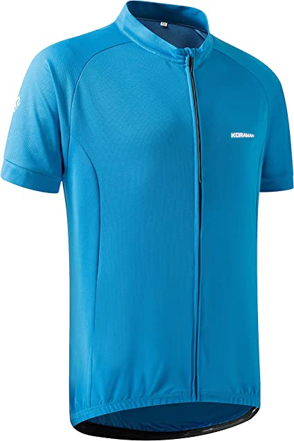 Moozes Men/'s Short Sleeve Cycling Jersey with Full Zip Rear Pockets Blue eb16