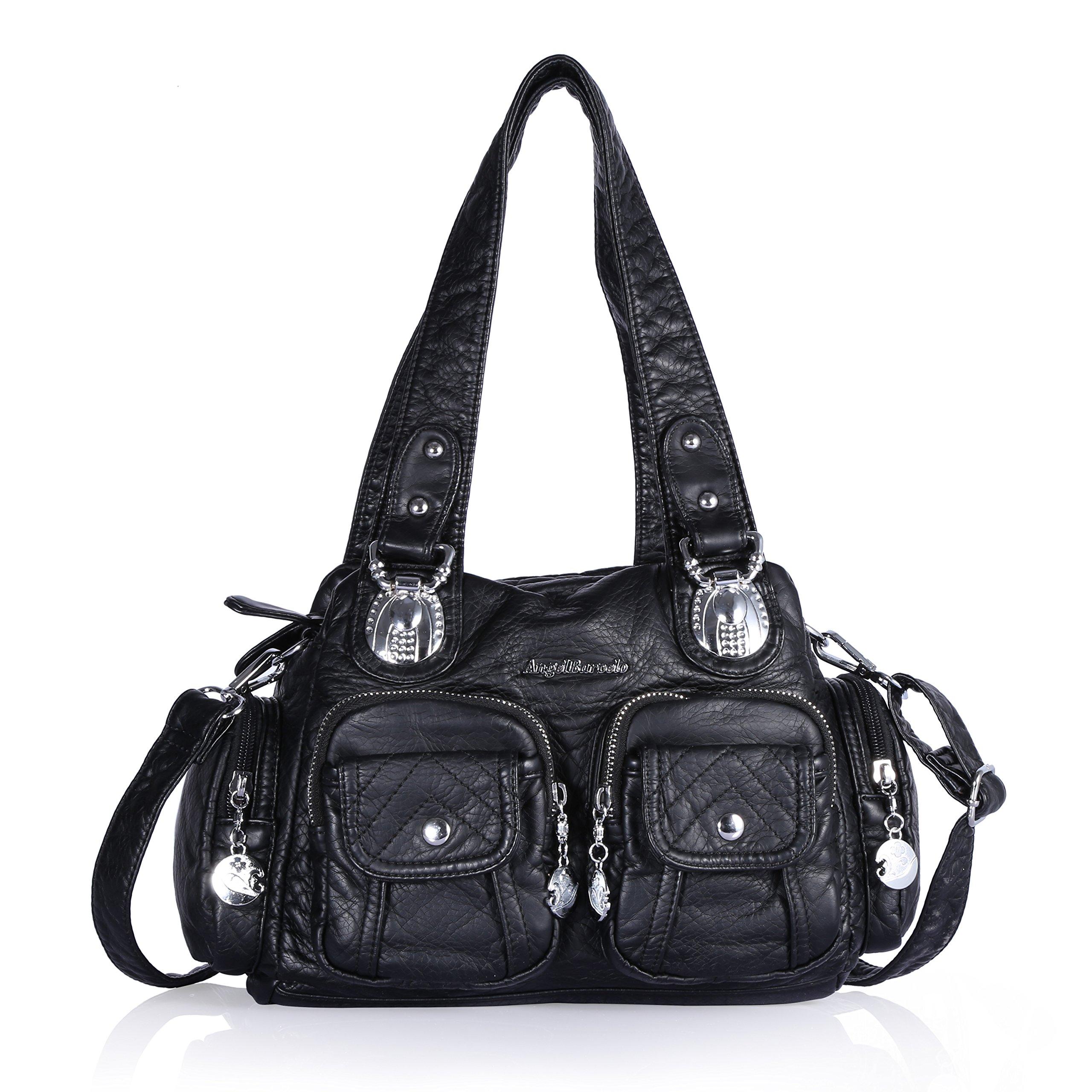 Angel Barcelo 3 Mini Handbags Women Purse PU Leather Top Zippers Multi Pockets Shoulder Bags … (Black)
