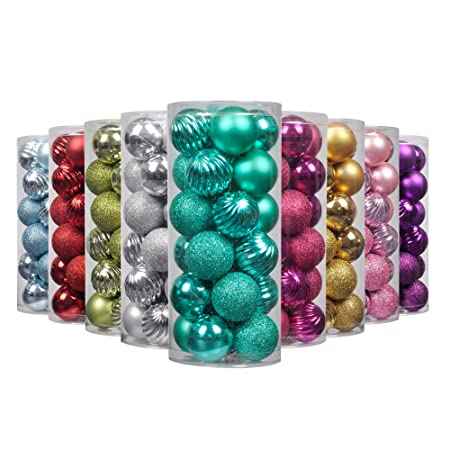 Ki Store Art Beauty Christmas Tree Baubles Teal Ball Onaments Shatterproof Xmas Hanging Decorations Centrepieces 24pcs