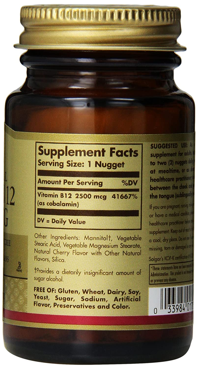 Amazon.com: Solgar Vitamin B12 Nuggets, 2500 mcg, 60 Count: Health & Personal Care