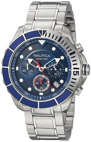 Nautica Reloj Cronógrafo para Hombre de Cuarzo con Correa en Acero Inoxidable NAPPTR004: Amazon.es: Relojes