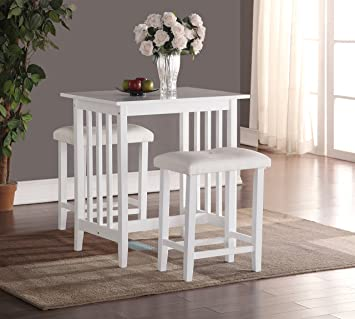 Roundhill Furniture 3 Piece Counter Height Dining Set With Saddleback  Stools, White